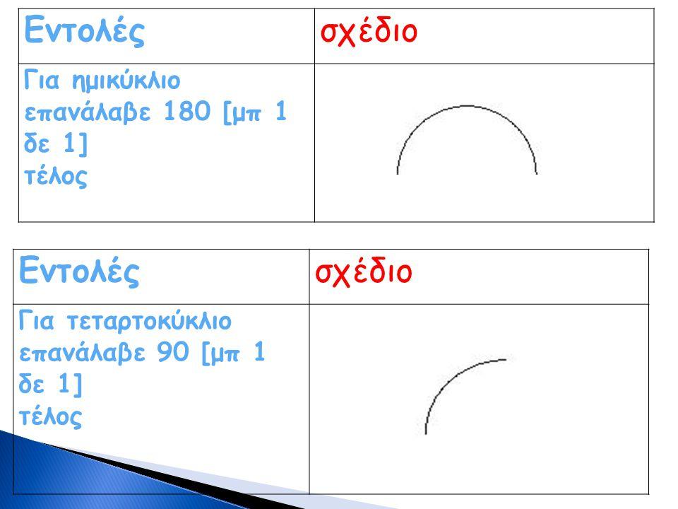 Εντολέςσχέδιο Για ημικύκλιο επανάλαβε 180 [μπ 1 δε 1] τέλος Εντολέςσχέδιο Για τεταρτοκύκλιο επανάλαβε 90 [μπ 1 δε 1] τέλος
