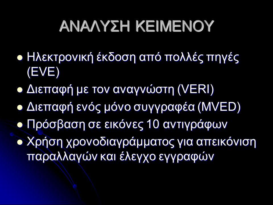 ΑΝΑΛΥΣΗ ΚΕΙΜΕΝΟΥ Ηλεκτρονική έκδοση από πολλές πηγές (EVE) Ηλεκτρονική έκδοση από πολλές πηγές (EVE) Διεπαφή με τον αναγνώστη (VERI) Διεπαφή με τον αναγνώστη (VERI) Διεπαφή ενός μόνο συγγραφέα (MVED) Διεπαφή ενός μόνο συγγραφέα (MVED) Πρόσβαση σε εικόνες 10 αντιγράφων Πρόσβαση σε εικόνες 10 αντιγράφων Χρήση χρονοδιαγράμματος για απεικόνιση παραλλαγών και έλεγχο εγγραφών Χρήση χρονοδιαγράμματος για απεικόνιση παραλλαγών και έλεγχο εγγραφών