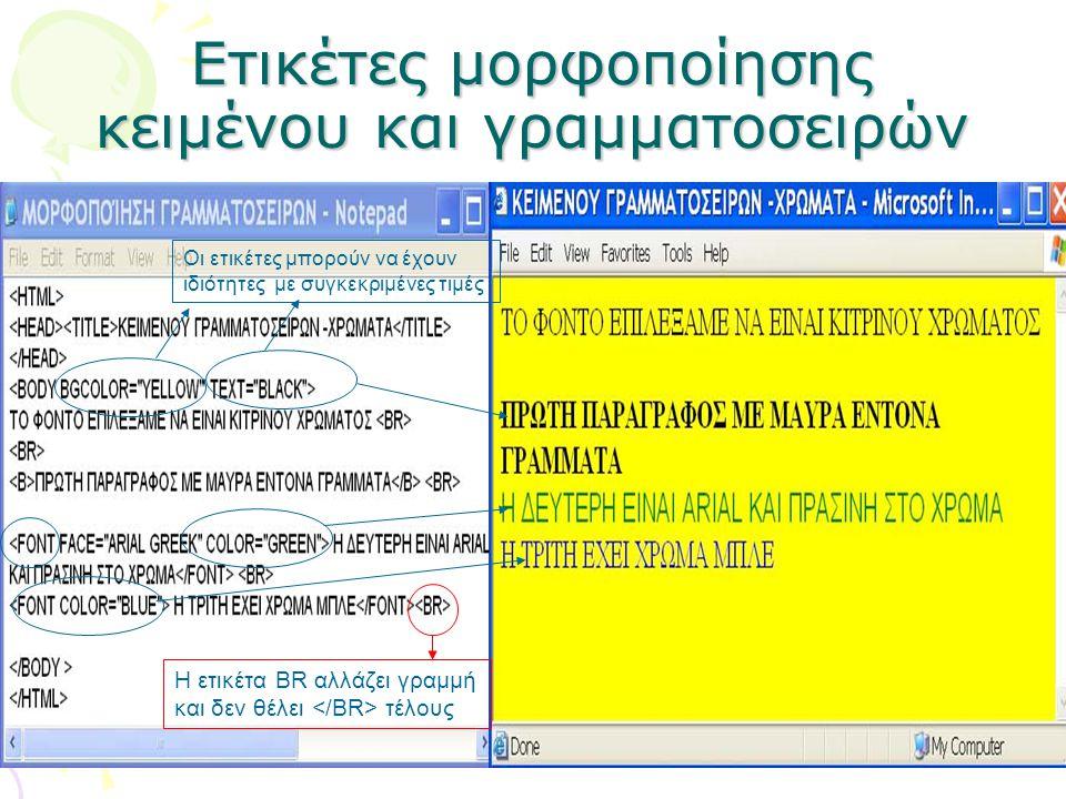 Ετικέτες μορφοποίησης κειμένου και γραμματοσειρών Οι ετικέτες μπορούν να έχουν ιδιότητες με συγκεκριμένες τιμές Η ετικέτα BR αλλάζει γραμμή και δεν θέ