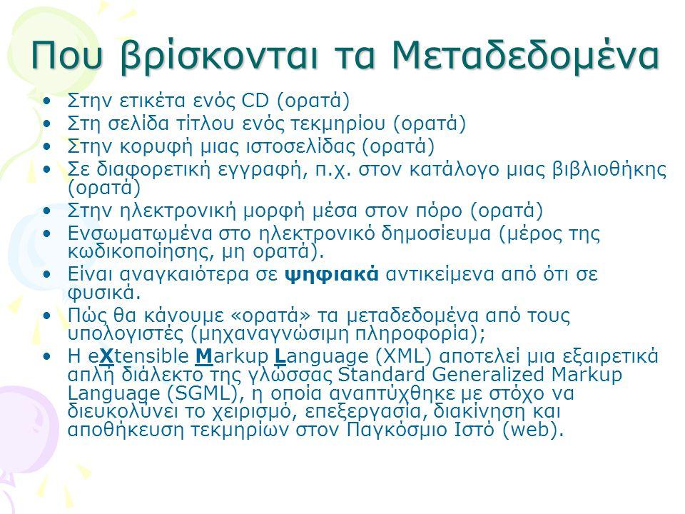 Που βρίσκονται τα Μεταδεδομένα Στην ετικέτα ενός CD (ορατά) Στη σελίδα τίτλου ενός τεκμηρίου (ορατά) Στην κορυφή μιας ιστοσελίδας (ορατά) Σε διαφορετι