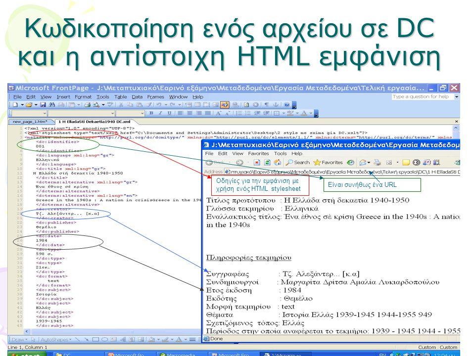 Κωδικοποίηση ενός αρχείου σε DC και η αντίστοιχη ΗTML εμφάνιση Οδηγίες για την εμφάνιση με χρήση ενός HTML stylesheet Είναι συνήθως ένα URL