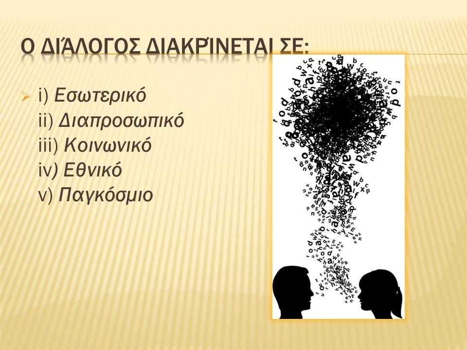  i) Εσωτερικό ii) Διαπροσωπικό iii) Κοινωνικό iv) Εθνικό v) Παγκόσμιο
