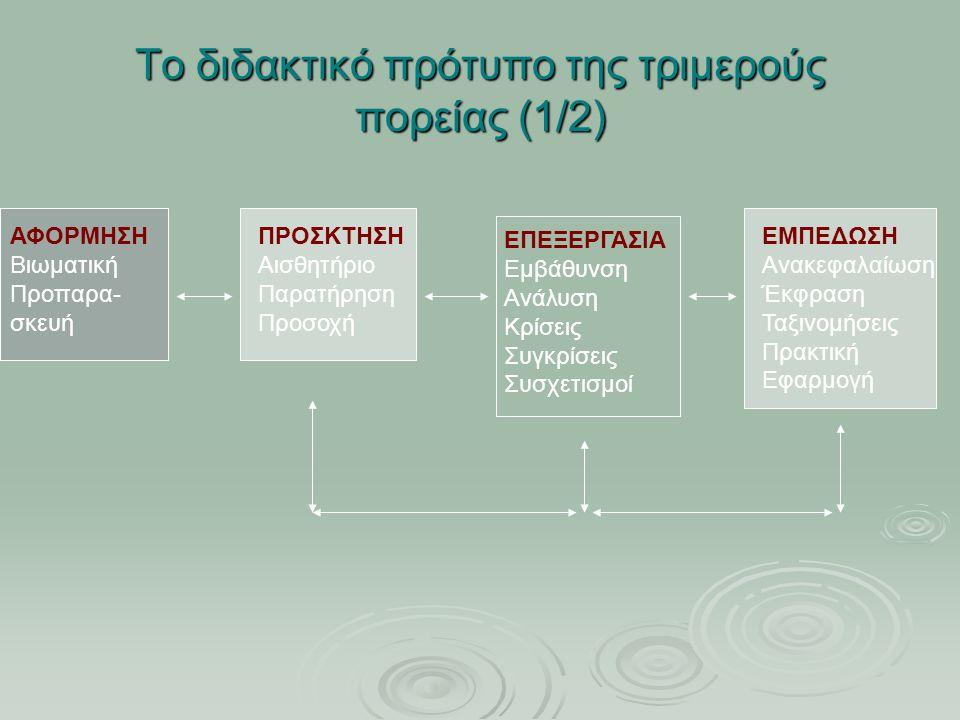 Το διδακτικό πρότυπο της τριμερούς πορείας (1/2) ΑΦΟΡΜΗΣΗ Βιωματική Προπαρα- σκευή ΠΡΟΣΚΤΗΣΗ Αισθητήριο Παρατήρηση Προσοχή ΕΠΕΞΕΡΓΑΣΙΑ Εμβάθυνση Ανάλυ