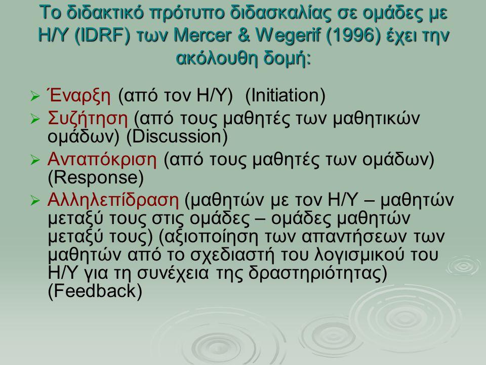 Το διδακτικό πρότυπο διδασκαλίας σε ομάδες με Η/Υ (IDRF) των Mercer & Wegerif (1996) έχει την ακόλουθη δομή:   Έναρξη (από τον Η/Υ) (Initiation)   Συζήτηση (από τους μαθητές των μαθητικών ομάδων) (Discussion)   Ανταπόκριση (από τους μαθητές των ομάδων) (Response)   Αλληλεπίδραση (μαθητών με τον Η/Υ – μαθητών μεταξύ τους στις ομάδες – ομάδες μαθητών μεταξύ τους) (αξιοποίηση των απαντήσεων των μαθητών από το σχεδιαστή του λογισμικού του Η/Υ για τη συνέχεια της δραστηριότητας) (Feedback)