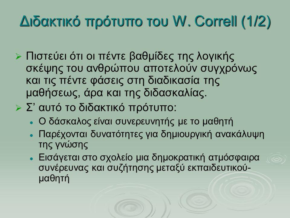 Διδακτικό πρότυπο του W. Correll (1/2) ΠΠιστεύει ότι οι πέντε βαθμίδες της λογικής σκέψης του ανθρώπου αποτελούν συγχρόνως και τις πέντε φάσεις στ