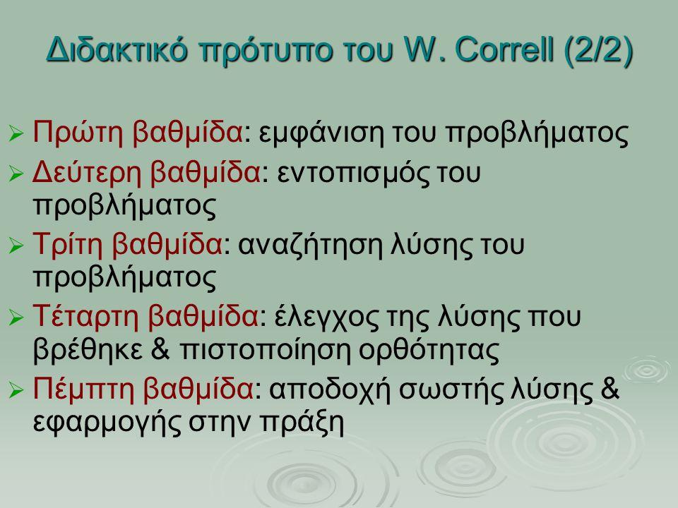 Διδακτικό πρότυπο του W. Correll (2/2) ΠΠρώτη βαθμίδα: εμφάνιση του προβλήματος ΔΔεύτερη βαθμίδα: εντοπισμός του προβλήματος ΤΤρίτη βαθμίδ