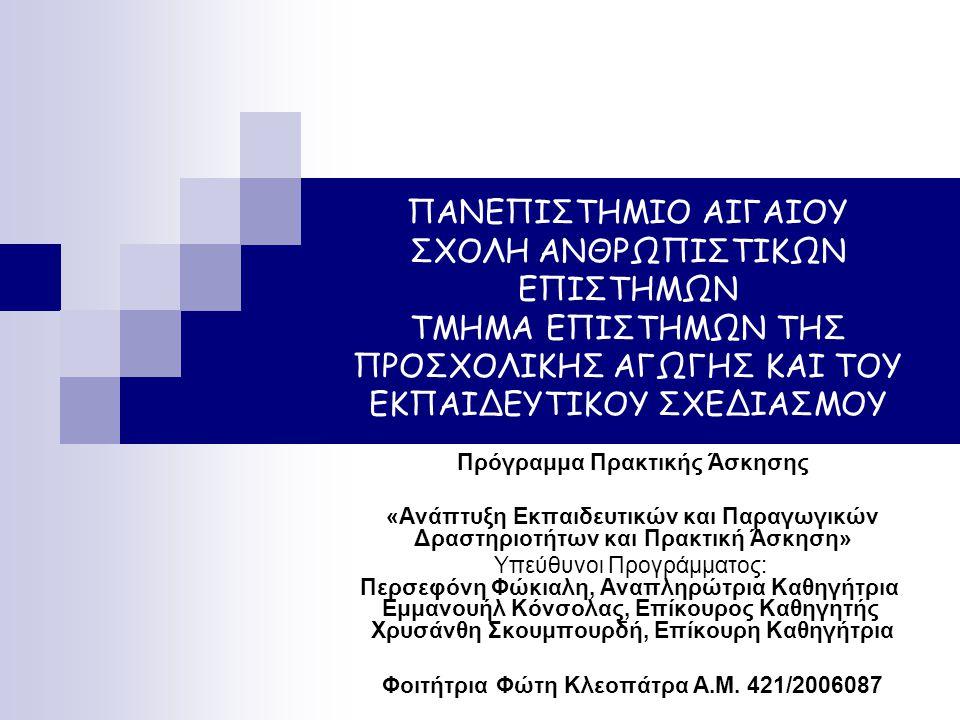 Περιεχόμενο Πρακτικής Άσκησης Στον τομέα διοίκησης Γραμματειακή-τηλεφωνική υποστήριξη Αρχειοθέτηση-ταξινόμηση εγγράφων και εντύπων Δημιουργία έντυπου υλικού Στον εκπαιδευτικό- επιστημονικό τομέα Συμμετοχή σε διεπαγγελματικές και διεπιστημονικές συναντήσεις Συμμετοχή σε βιωματικά σεμινάρια που υλοποιήθηκαν με ομάδες μαθητών και εκπαιδευτικών Κατασκευή υλικών χρησιμοποιούμενων στα προγράμματα και στα σεμινάρια