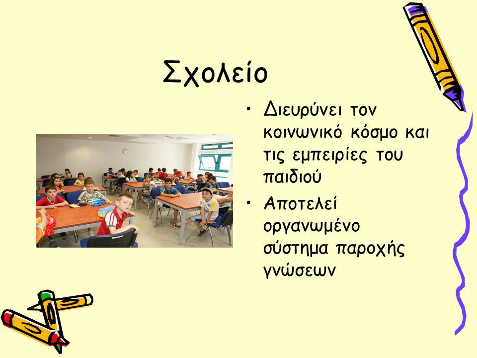 Σχολείο Διευρύνει τον κοινωνικό κόσμο και τις εμπειρίες του παιδιού Αποτελεί οργανωμένο σύστημα παροχής γνώσεων