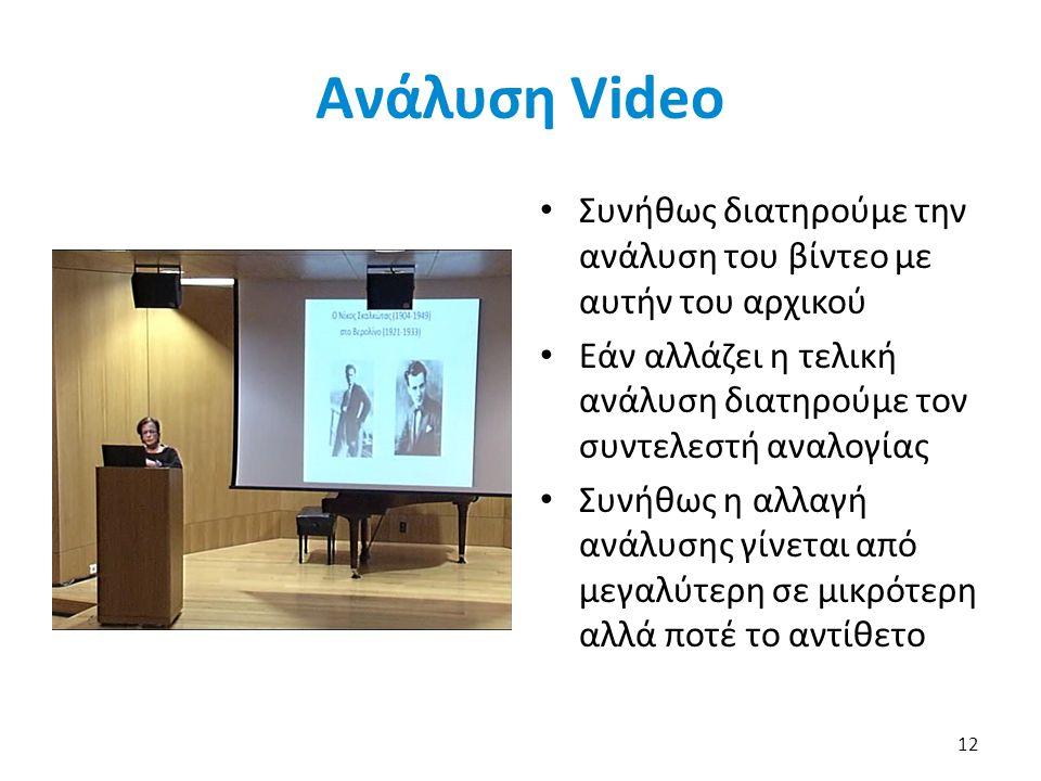 Ανάλυση Video Συνήθως διατηρούμε την ανάλυση του βίντεο με αυτήν του αρχικού Εάν αλλάζει η τελική ανάλυση διατηρούμε τον συντελεστή αναλογίας Συνήθως η αλλαγή ανάλυσης γίνεται από μεγαλύτερη σε μικρότερη αλλά ποτέ το αντίθετο 12
