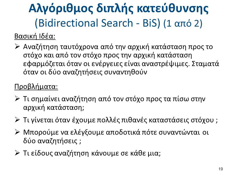 Αλγόριθμος διπλής κατεύθυνσης (Bidirectional Search - BiS) (1 από 2) Βασική Ιδέα:  Αναζήτηση ταυτόχρονα από την αρχική κατάσταση προς το στόχο και απ