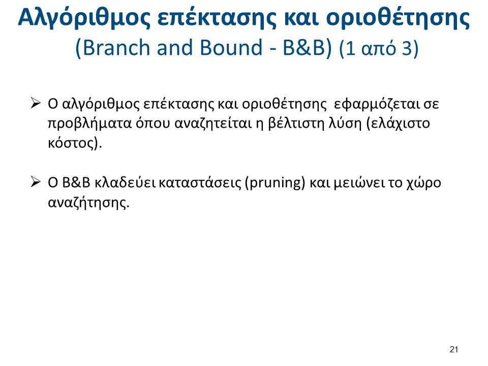 Αλγόριθμος επέκτασης και οριοθέτησης (Branch and Bound - B&B) (1 από 3)  Ο αλγόριθμος επέκτασης και οριοθέτησης εφαρμόζεται σε προβλήματα όπου αναζητ