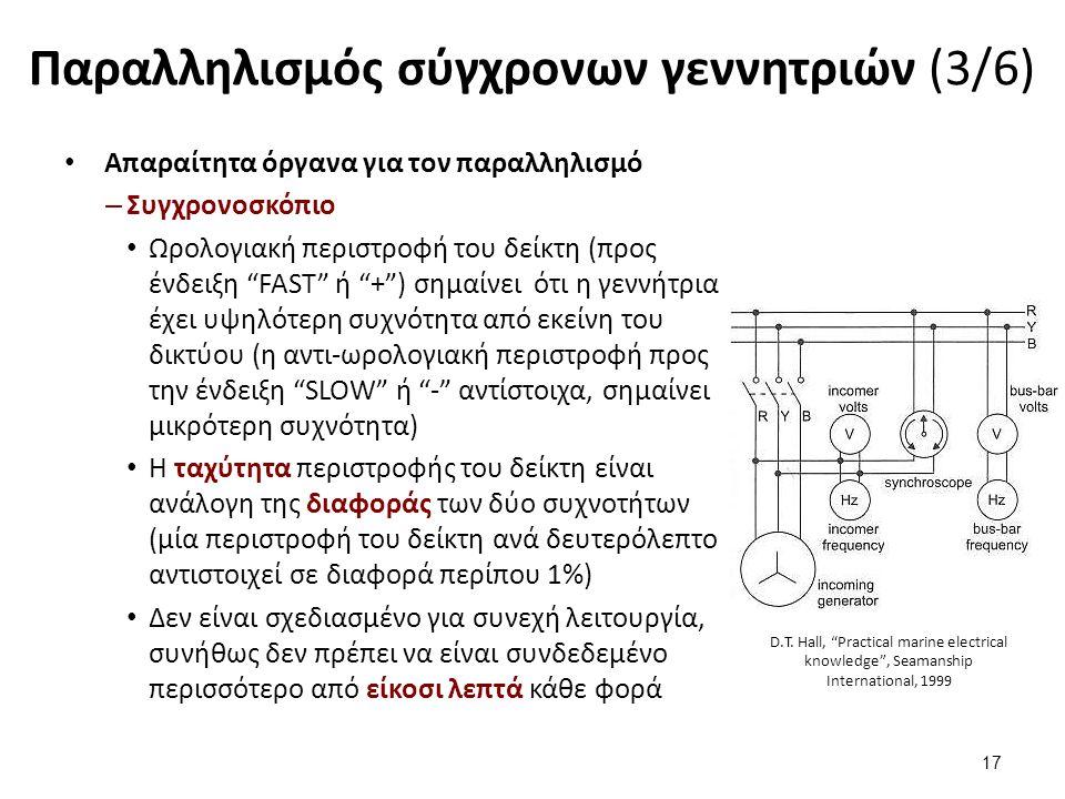 """Παραλληλισμός σύγχρονων γεννητριών (3/6) Απαραίτητα όργανα για τον παραλληλισμό – Συγχρονοσκόπιο Ωρολογιακή περιστροφή του δείκτη (προς ένδειξη """"FAST"""""""