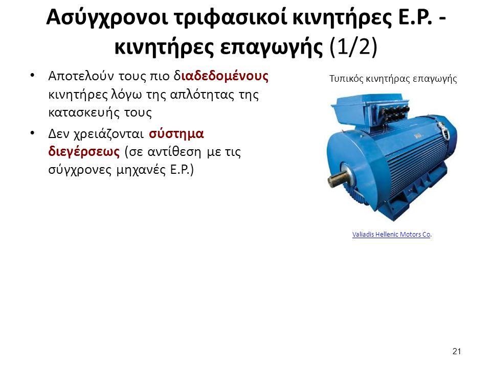 Ασύγχρονοι τριφασικοί κινητήρες Ε.Ρ. - κινητήρες επαγωγής (1/2) Αποτελούν τους πιο διαδεδομένους κινητήρες λόγω της απλότητας της κατασκευής τους Δεν