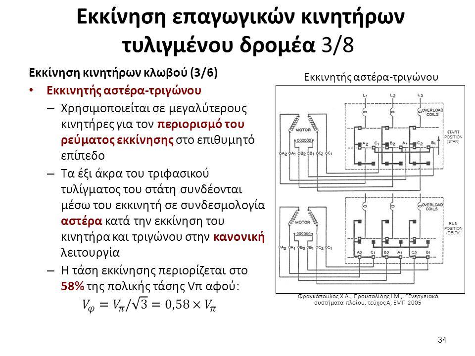 """Εκκίνηση επαγωγικών κινητήρων τυλιγμένου δρομέα 3/8 34 Φραγκόπουλος Χ.Α., Προυσαλίδης Ι.Μ., """"Ενεργειακά συστήματα πλοίου, τεύχος Α, ΕΜΠ 2005 Εκκινητής"""