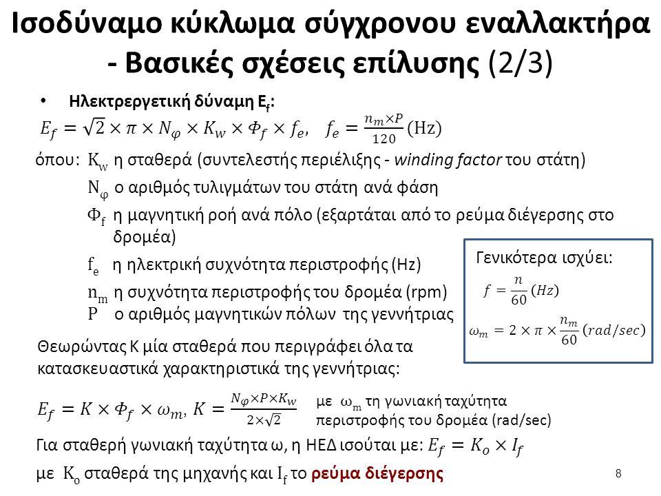 Ισοδύναμο κύκλωμα σύγχρονου εναλλακτήρα - Βασικές σχέσεις επίλυσης (2/3) 8 όπου: K w η σταθερά (συντελεστής περιέλιξης - winding factor του στάτη) Ν φ