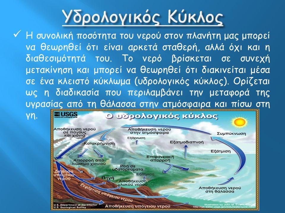 Το νερό είναι τόσο σημαντικό, που ο πλανήτης στον οποίο ζούμε έχει χαρακτηριστεί ως υδάτινος Το νερό καλύπτει το 71% της επιφάνειας της γης, ενώ το με