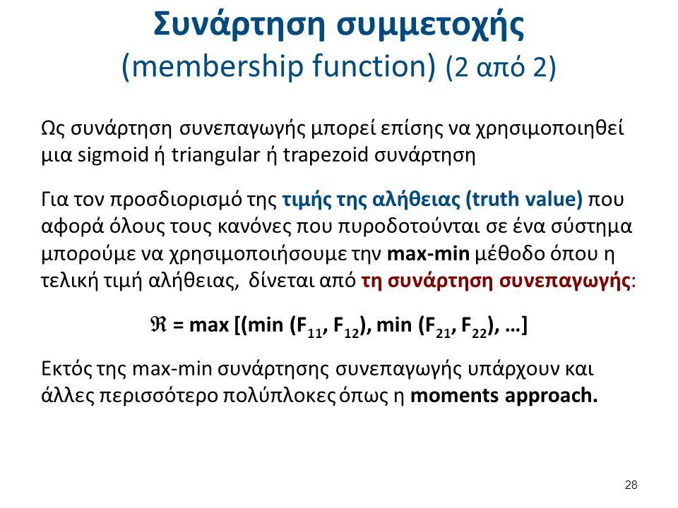 Συνάρτηση συμμετοχής (membership function) (2 από 2) Ως συνάρτηση συνεπαγωγής μπορεί επίσης να χρησιμοποιηθεί μια sigmoid ή triangular ή trapezoid συνάρτηση Για τον προσδιορισμό της τιμής της αλήθειας (truth value) που αφορά όλους τους κανόνες που πυροδοτούνται σε ένα σύστημα μπορούμε να χρησιμοποιήσουμε την max-min μέθοδο όπου η τελική τιμή αλήθειας, δίνεται από τη συνάρτηση συνεπαγωγής:  = max [(min (F 11, F 12 ), min (F 21, F 22 ), …] Εκτός της max-min συνάρτησης συνεπαγωγής υπάρχουν και άλλες περισσότερο πολύπλοκες όπως η moments approach.