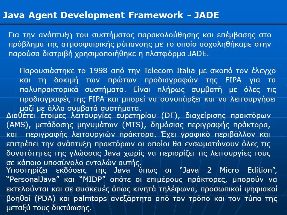 Java Agent Development Framework - JADE Για την ανάπτυξη του συστήματος παρακολούθησης και επέμβασης στο πρόβλημα της ατμοσφαιρικής ρύπανσης με το οποίο ασχοληθήκαμε στην παρούσα διατριβή χρησιμοποιήθηκε η πλατφόρμα JADE.