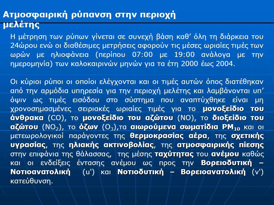 Ατμοσφαιρική ρύπανση στην περιοχή μελέτης Η μέτρηση των ρύπων γίνεται σε συνεχή βάση καθ' όλη τη διάρκεια του 24ώρου ενώ οι διαθέσιμες μετρήσεις αφορούν τις μέσες ωριαίες τιμές των ωρών με ηλιοφάνεια (περίπου 07:00 με 19:00 ανάλογα με την ημερομηνία) των καλοκαιρινών μηνών για τα έτη 2000 έως 2004.