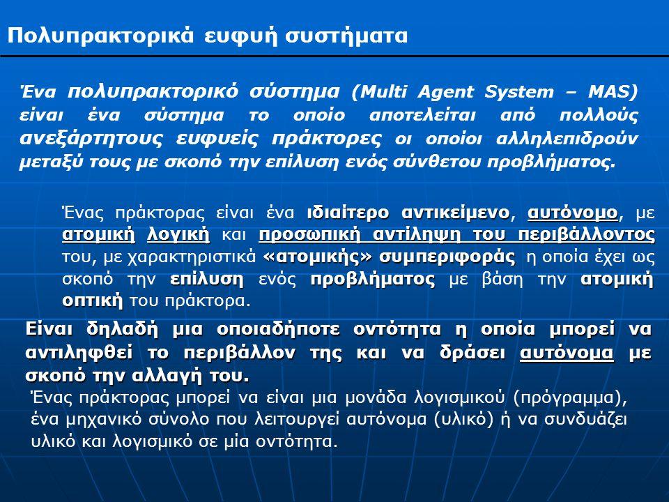 Πολυπρακτορικά ευφυή συστήματα ευφυής ευφυών υπολογιστικών συστημάτων ανθρώπινη νοημοσύνηικανότητες Ένας πράκτορας ονομάζεται ευφυής όταν ενσωματώνει χαρακτηριστικά ευφυών υπολογιστικών συστημάτων, δηλαδή συστημάτων που επιδεικνύουν χαρακτηριστικά που σχετίζονται με την ανθρώπινη νοημοσύνη ή μηχανισμούς έτσι ώστε να διαθέτει ικανότητες όπως:  Η εξαγωγή συμπερασμάτων μέσα από αντιφατικά ή ασαφή μηνύματα.