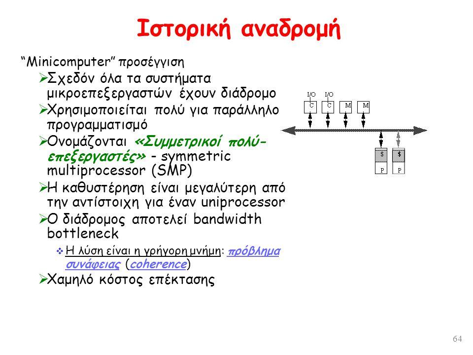 64 Ιστορική αναδρομή Minicomputer προσέγγιση  Σχεδόν όλα τα συστήματα μικροεπεξεργαστών έχουν διάδρομο  Χρησιμοποιείται πολύ για παράλληλο προγραμματισμό  Ονομάζονται «Συμμετρικοί πολύ- επεξεργαστές» - symmetric multiprocessor (SMP)  Η καθυστέρηση είναι μεγαλύτερη από την αντίστοιχη για έναν uniprocessor  Ο διάδρομος αποτελεί bandwidth bottleneck  Η λύση είναι η γρήγορη μνήμη: πρόβλημα συνάφειας (coherence)  Χαμηλό κόστος επέκτασης