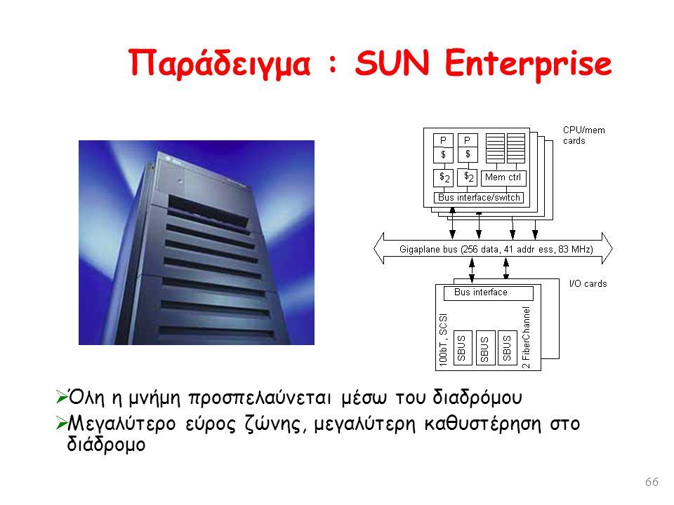 66 Παράδειγμα : SUN Enterprise  Όλη η μνήμη προσπελαύνεται μέσω του διαδρόμου  Μεγαλύτερο εύρος ζώνης, μεγαλύτερη καθυστέρηση στο διάδρομο