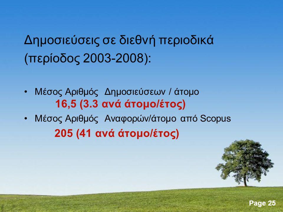 Page 25 Δημοσιεύσεις σε διεθνή περιοδικά (περίοδος 2003-2008): Μέσος Αριθμός Δημοσιεύσεων / άτομο 16,5 (3.3 ανά άτομο/έτος) Μέσος Αριθμός Αναφορών/άτομο από Scopus 205 (41 ανά άτομο/έτος)