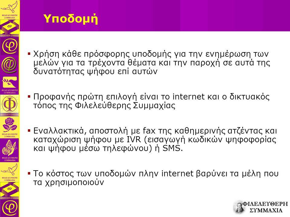 Υποδομή  Χρήση κάθε πρόσφορης υποδομής για την ενημέρωση των μελών για τα τρέχοντα θέματα και την παροχή σε αυτά της δυνατότητας ψήφου επί αυτών  Προφανής πρώτη επιλογή είναι το internet και ο δικτυακός τόπος της Φιλελεύθερης Συμμαχίας  Εναλλακτικά, αποστολή με fax της καθημερινής ατζέντας και καταχώριση ψήφου με IVR (εισαγωγή κωδικών ψηφοφορίας και ψήφου μέσω τηλεφώνου) ή SMS.