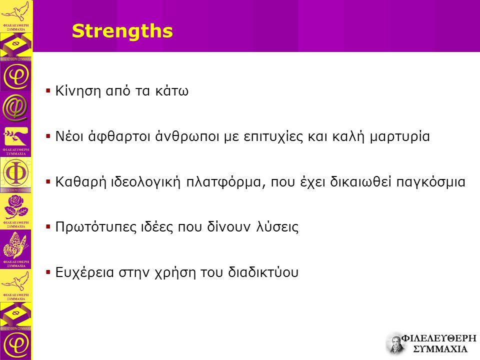 Strengths  Κίνηση από τα κάτω  Νέοι άφθαρτοι άνθρωποι με επιτυχίες και καλή μαρτυρία  Καθαρή ιδεολογική πλατφόρμα, που έχει δικαιωθεί παγκόσμια  Π