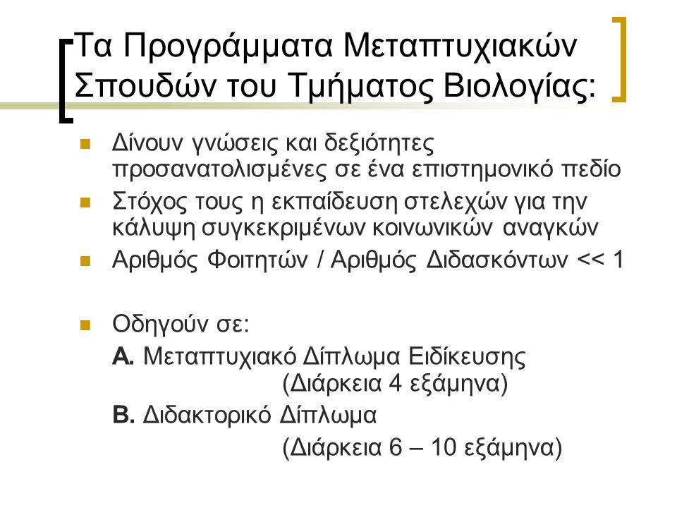 Τα Προγράμματα Μεταπτυχιακών Σπουδών του Τμήματος Βιολογίας: Δίνουν γνώσεις και δεξιότητες προσανατολισμένες σε ένα επιστημονικό πεδίο Στόχος τους η εκπαίδευση στελεχών για την κάλυψη συγκεκριμένων κοινωνικών αναγκών Αριθμός Φοιτητών / Αριθμός Διδασκόντων << 1 Οδηγούν σε: Α.