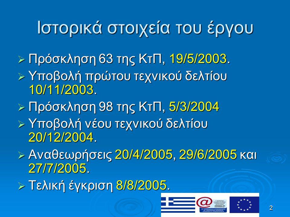 2 Ιστορικά στοιχεία του έργου  Πρόσκληση 63 της ΚτΠ, 19/5/2003.  Υποβολή πρώτου τεχνικού δελτίου 10/11/2003.  Πρόσκληση 98 της ΚτΠ, 5/3/2004  Υποβ