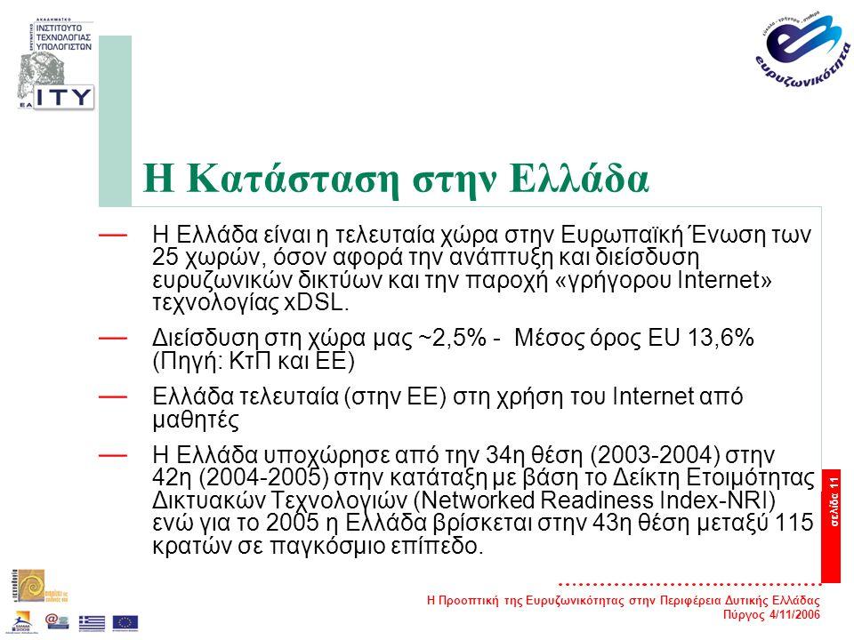 Η Προοπτική της Ευρυζωνικότητας στην Περιφέρεια Δυτικής Ελλάδας Πύργος 4/11/2006 σελίδα 11 Η Κατάσταση στην Ελλάδα — Η Ελλάδα είναι η τελευταία χώρα στην Ευρωπαϊκή Ένωση των 25 χωρών, όσον αφορά την ανάπτυξη και διείσδυση ευρυζωνικών δικτύων και την παροχή «γρήγορου Internet» τεχνολογίας xDSL.