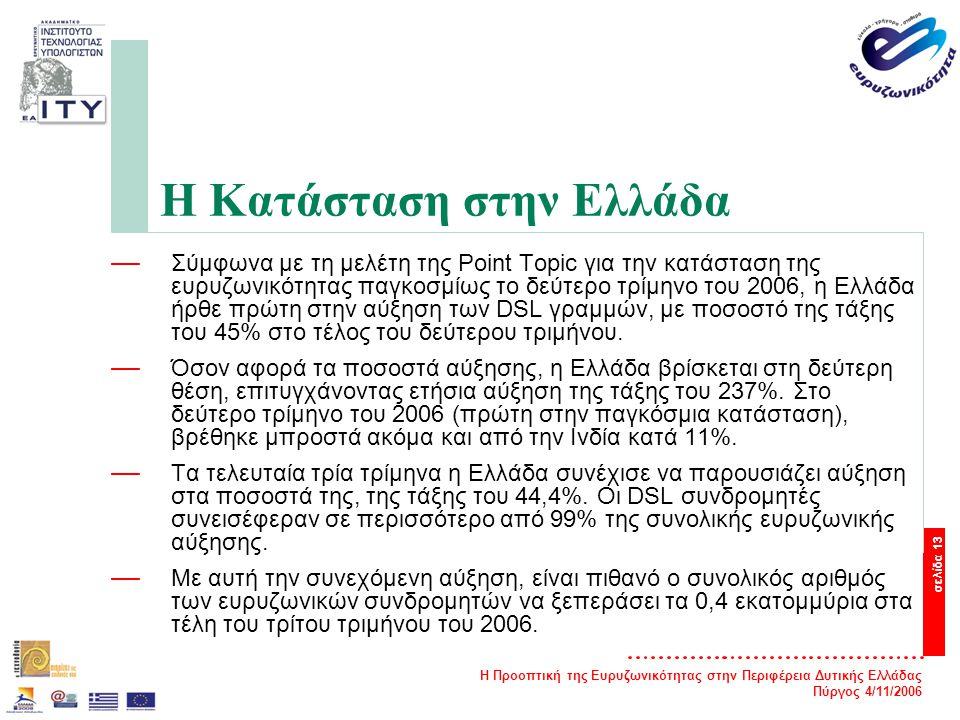 Η Προοπτική της Ευρυζωνικότητας στην Περιφέρεια Δυτικής Ελλάδας Πύργος 4/11/2006 σελίδα 13 Η Κατάσταση στην Ελλάδα — Σύμφωνα με τη μελέτη της Point Topic για την κατάσταση της ευρυζωνικότητας παγκοσμίως το δεύτερο τρίμηνο του 2006, η Ελλάδα ήρθε πρώτη στην αύξηση των DSL γραμμών, με ποσοστό της τάξης του 45% στο τέλος του δεύτερου τριμήνου.