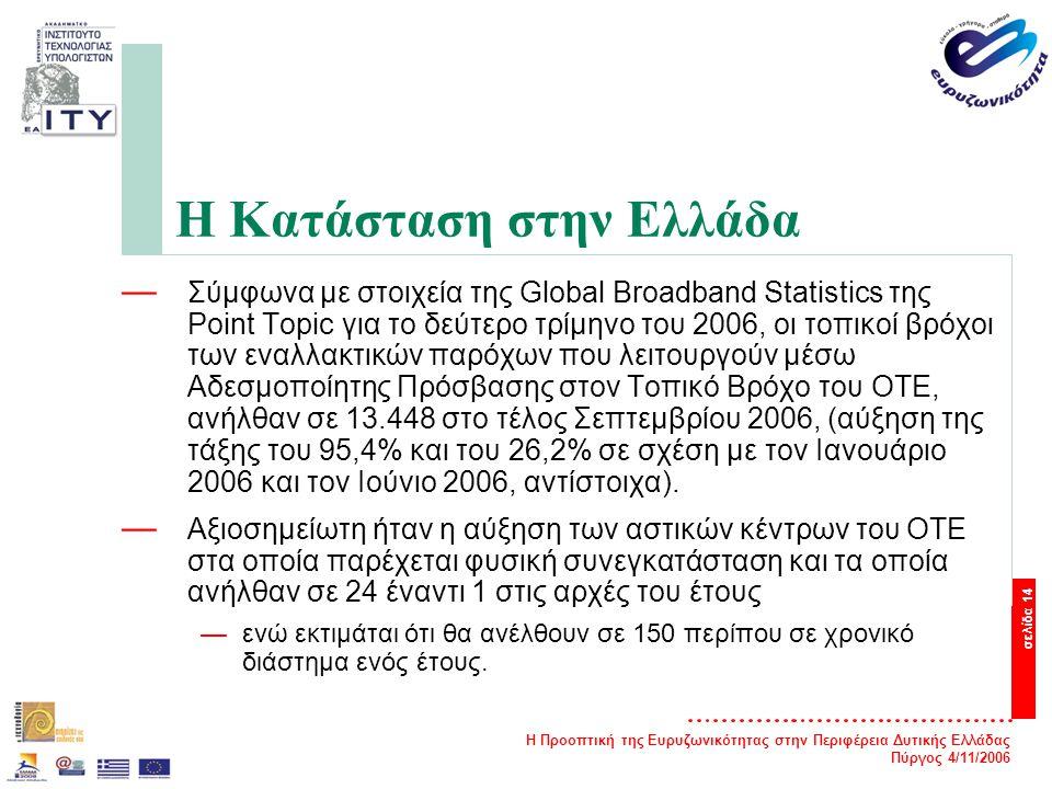 Η Προοπτική της Ευρυζωνικότητας στην Περιφέρεια Δυτικής Ελλάδας Πύργος 4/11/2006 σελίδα 14 Η Κατάσταση στην Ελλάδα — Σύμφωνα με στοιχεία της Global Broadband Statistics της Point Topic για το δεύτερο τρίμηνο του 2006, οι τοπικοί βρόχοι των εναλλακτικών παρόχων που λειτουργούν μέσω Αδεσμοποίητης Πρόσβασης στον Τοπικό Βρόχο του ΟΤΕ, ανήλθαν σε 13.448 στο τέλος Σεπτεμβρίου 2006, (αύξηση της τάξης του 95,4% και του 26,2% σε σχέση με τον Ιανουάριο 2006 και τον Ιούνιο 2006, αντίστοιχα).