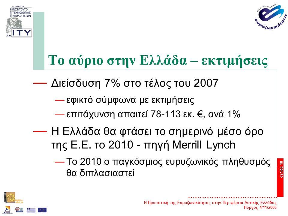 Η Προοπτική της Ευρυζωνικότητας στην Περιφέρεια Δυτικής Ελλάδας Πύργος 4/11/2006 σελίδα 18 Το αύριο στην Ελλάδα – εκτιμήσεις — Διείσδυση 7% στο τέλος του 2007 —εφικτό σύμφωνα με εκτιμήσεις —επιτάχυνση απαιτεί 78-113 εκ.