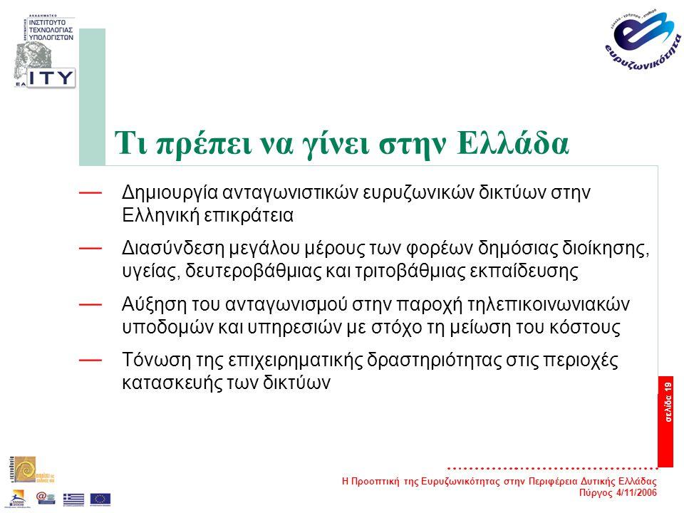 Η Προοπτική της Ευρυζωνικότητας στην Περιφέρεια Δυτικής Ελλάδας Πύργος 4/11/2006 σελίδα 19 Τι πρέπει να γίνει στην Ελλάδα — Δημιουργία ανταγωνιστικών ευρυζωνικών δικτύων στην Ελληνική επικράτεια — Διασύνδεση μεγάλου μέρους των φορέων δημόσιας διοίκησης, υγείας, δευτεροβάθμιας και τριτοβάθμιας εκπαίδευσης — Αύξηση του ανταγωνισμού στην παροχή τηλεπικοινωνιακών υποδομών και υπηρεσιών με στόχο τη μείωση του κόστους — Τόνωση της επιχειρηματικής δραστηριότητας στις περιοχές κατασκευής των δικτύων