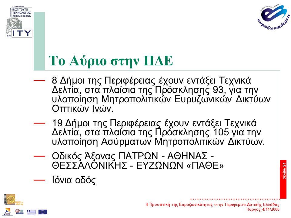 Η Προοπτική της Ευρυζωνικότητας στην Περιφέρεια Δυτικής Ελλάδας Πύργος 4/11/2006 σελίδα 21 Το Αύριο στην ΠΔΕ — 8 Δήμοι της Περιφέρειας έχουν εντάξει Τεχνικά Δελτία, στα πλαίσια της Πρόσκλησης 93, για την υλοποίηση Μητροπολιτικών Ευρυζωνικών Δικτύων Οπτικών Ινών.