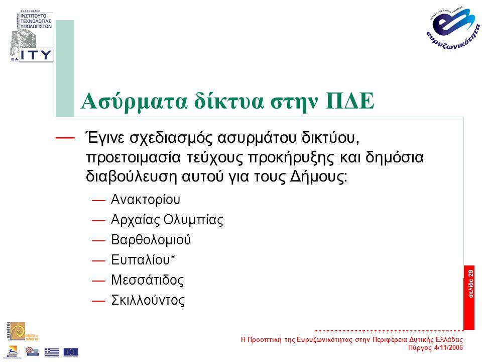 Η Προοπτική της Ευρυζωνικότητας στην Περιφέρεια Δυτικής Ελλάδας Πύργος 4/11/2006 σελίδα 29 Ασύρματα δίκτυα στην ΠΔΕ — Έγινε σχεδιασμός ασυρμάτου δικτύου, προετοιμασία τεύχους προκήρυξης και δημόσια διαβούλευση αυτού για τους Δήμους: —Ανακτορίου —Αρχαίας Ολυμπίας —Βαρθολομιού —Ευπαλίου* —Μεσσάτιδος —Σκιλλούντος