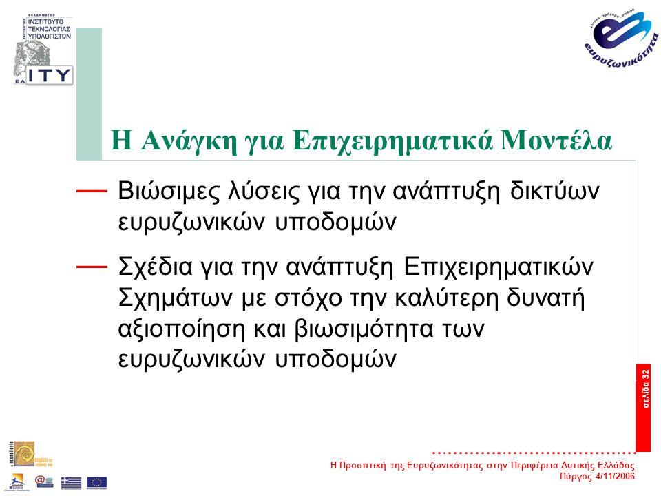 Η Προοπτική της Ευρυζωνικότητας στην Περιφέρεια Δυτικής Ελλάδας Πύργος 4/11/2006 σελίδα 32 Η Ανάγκη για Επιχειρηματικά Μοντέλα — Βιώσιμες λύσεις για την ανάπτυξη δικτύων ευρυζωνικών υποδομών — Σχέδια για την ανάπτυξη Επιχειρηματικών Σχημάτων με στόχο την καλύτερη δυνατή αξιοποίηση και βιωσιμότητα των ευρυζωνικών υποδομών