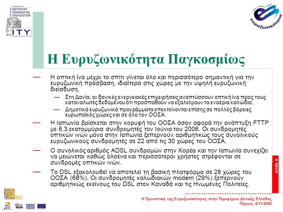 Η Προοπτική της Ευρυζωνικότητας στην Περιφέρεια Δυτικής Ελλάδας Πύργος 4/11/2006 σελίδα 8 Η Ευρυζωνικότητα Παγκοσμίως — Η οπτική ίνα μέχρι το σπίτι γίνεται όλο και περισσότερο σημαντική για την ευρυζωνική πρόσβαση, ιδιαίτερα στις χώρες με την υψηλή ευρυζωνική διείσδυση.