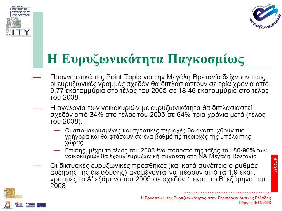 Η Προοπτική της Ευρυζωνικότητας στην Περιφέρεια Δυτικής Ελλάδας Πύργος 4/11/2006 σελίδα 9 Η Ευρυζωνικότητα Παγκοσμίως — Προγνωστικά της Point Topic για την Μεγάλη Βρετανία δείχνουν πως οι ευρυζωνικές γραμμές σχεδόν θα διπλασιαστούν σε τρία χρόνια από 9,77 εκατομμύρια στο τέλος του 2005 σε 18,46 εκατομμύρια στο τέλος του 2008.