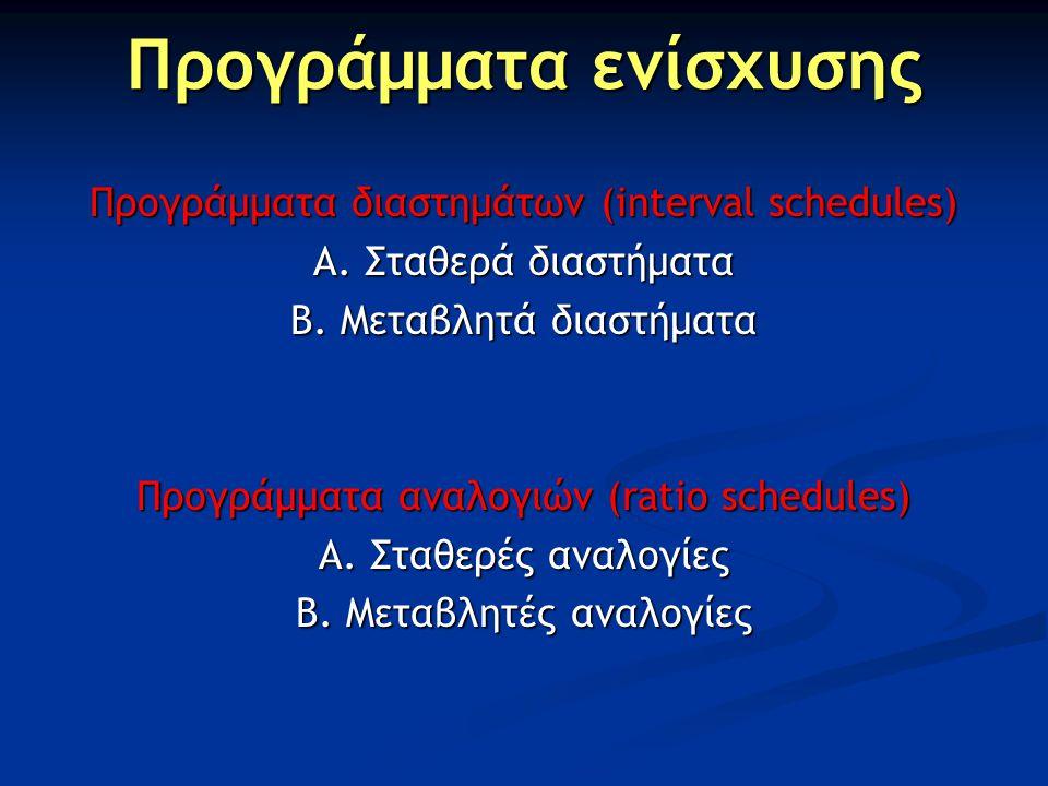 Προγράμματα ενίσχυσης Προγράμματα διαστημάτων (interval schedules) Α. Σταθερά διαστήματα Β. Μεταβλητά διαστήματα Προγράμματα αναλογιών (ratio schedule