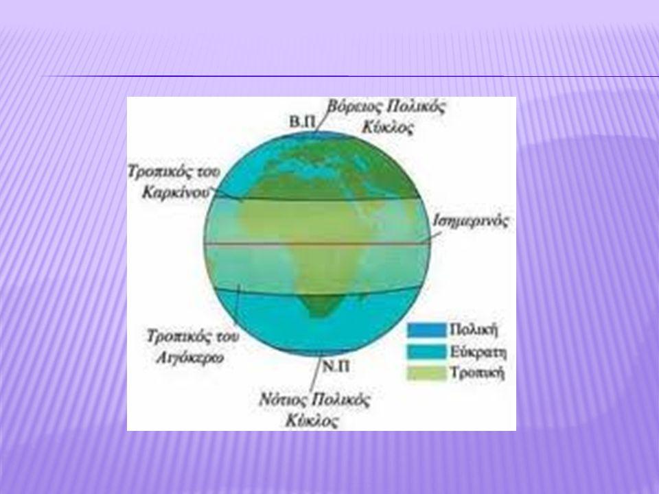  Οι περιοχές που βρίσκονται γύρω από τον Ισημερινό αποτελούν την πιο θερμή κλιματική ζώνη, την τροπική.