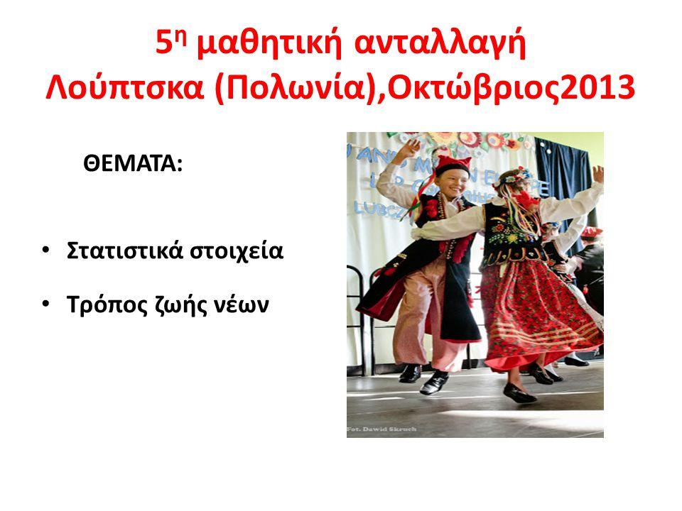 5 η μαθητική ανταλλαγή Λούπτσκα (Πολωνία),Οκτώβριος2013 ΘΕΜΑΤΑ: Στατιστικά στοιχεία Τρόπος ζωής νέων