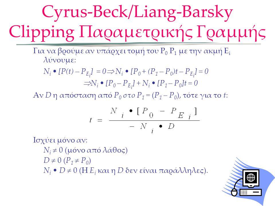 Για να βρούμε αν υπάρχει τομή του P 0 P 1 με την ακμή E i λύνουμε: N i [P(t) – P E i ] = 0  N i [P 0 + (P 1 – P 0 )t – P E i ] = 0  N i [P 0 – P E i ] + N i [P 1 – P 0 ]t = 0 Αν D η απόσταση από P 0 στο P 1 = (P 1 – P 0 ), τότε για το t: Ισχύει μόνο αν: N i  0 (μόνο από λάθος) D  0 (P 1  P 0 ) N i D  0 (Η E i και η D δεν είναι παράλληλες).