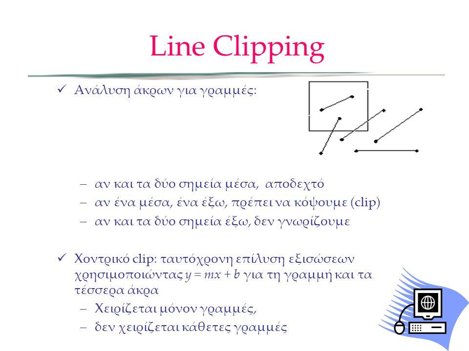 Line Clipping Ανάλυση άκρων για γραμμές: –αν και τα δύο σημεία μέσα, αποδεχτό –αν ένα μέσα, ένα έξω, πρέπει να κόψουμε (clip) –αν και τα δύο σημεία έξω, δεν γνωρίζουμε Χοντρικό clip: ταυτόχρονη επίλυση εξισώσεων χρησιμοποιώντας y = mx + b για τη γραμμή και τα τέσσερα άκρα –Χειρίζεται μόνον γραμμές, –δεν χειρίζεται κάθετες γραμμές