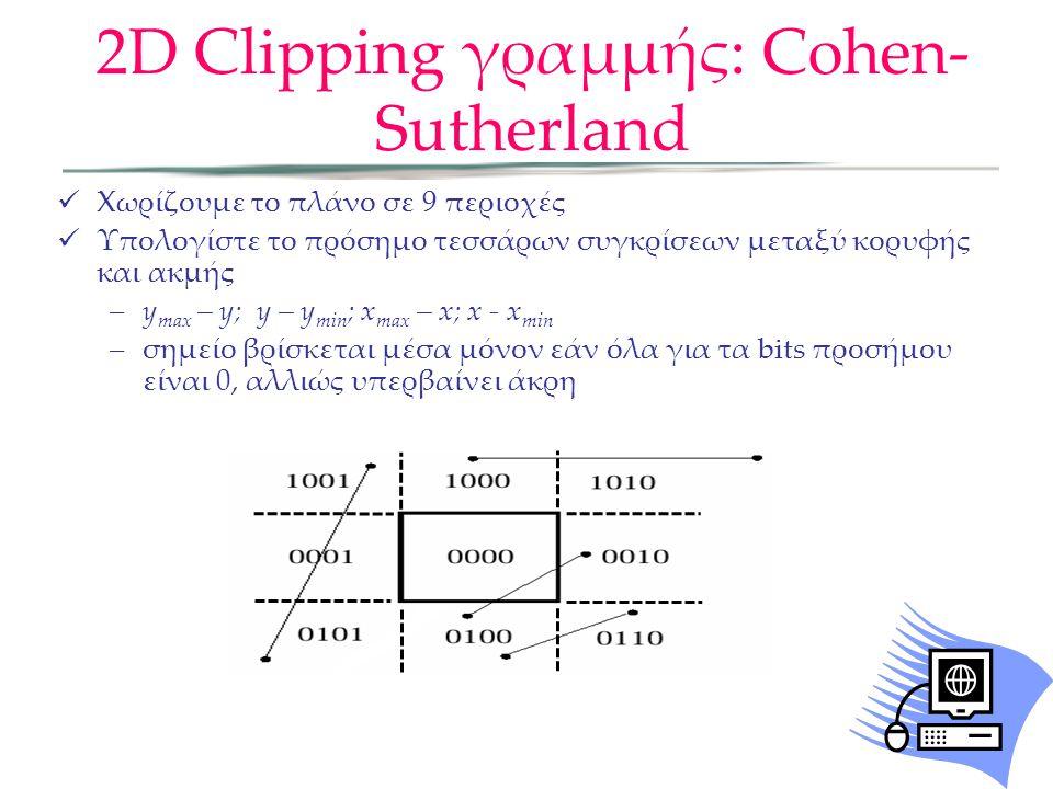 Χωρίζουμε το πλάνο σε 9 περιοχές Υπολογίστε το πρόσημο τεσσάρων συγκρίσεων μεταξύ κορυφής και ακμής –y max – y; y – y min ; x max – x; x - x min –σημείο βρίσκεται μέσα μόνον εάν όλα για τα bits προσήμου είναι 0, αλλιώς υπερβαίνει άκρη 2D Clipping γραμμής: Cohen- Sutherland