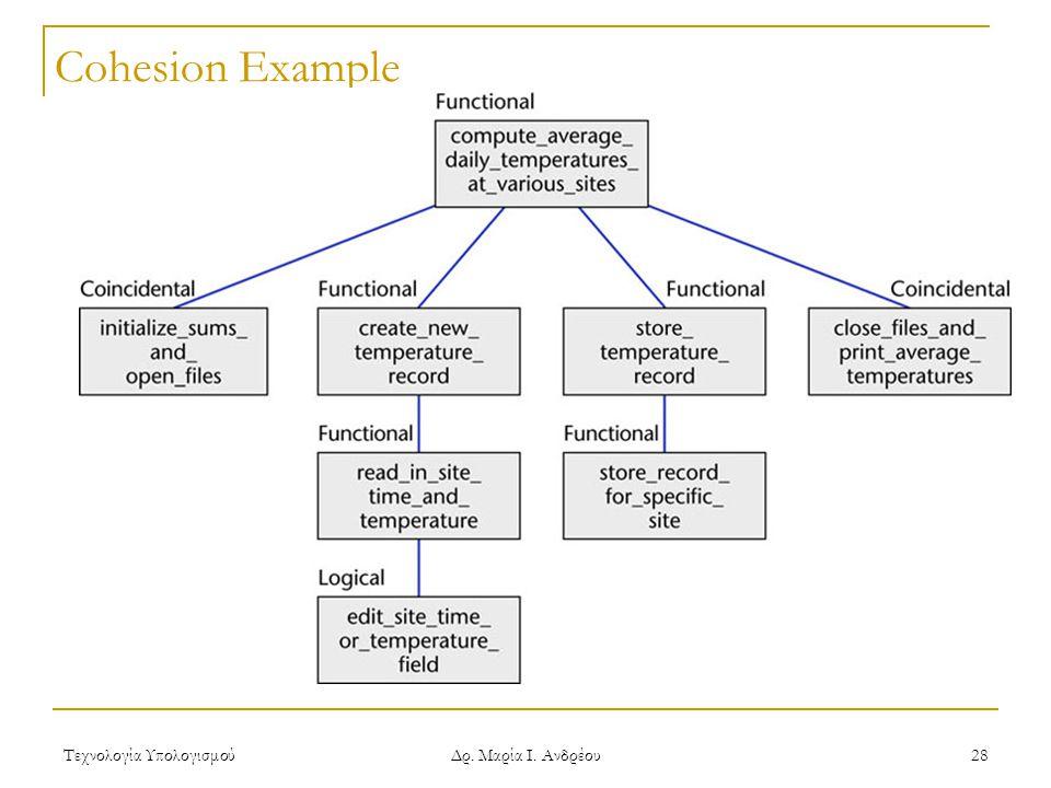 Τεχνολογία Υπολογισμού Δρ. Μαρία Ι. Ανδρέου 28 Cohesion Example