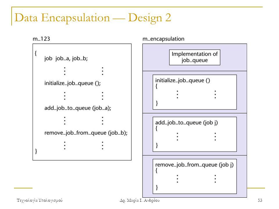 Τεχνολογία Υπολογισμού Δρ. Μαρία Ι. Ανδρέου 53 Data Encapsulation — Design 2