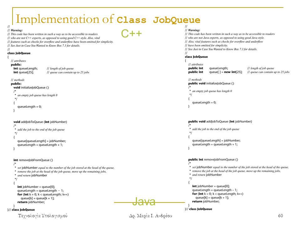 Τεχνολογία Υπολογισμού Δρ. Μαρία Ι. Ανδρέου 60 Implementation of Class JobQueue C++ Java